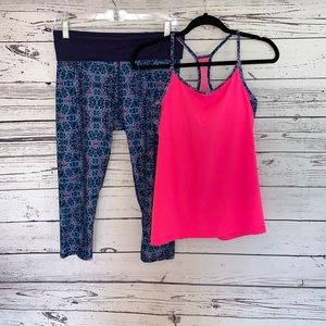 Fabletics Activewear Set Pink and Purple